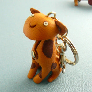 Leather Tiger Kitty Cat Keychain