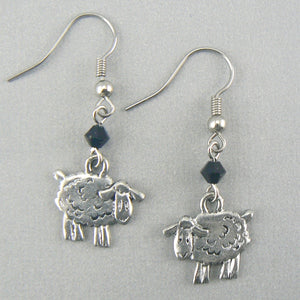 Little Sheep Pewter Earrings