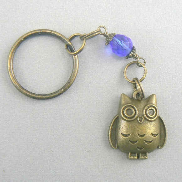 Lucky Owl Bronze Key Chain - blue