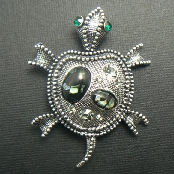 Marcasite Styled Turtle Pin