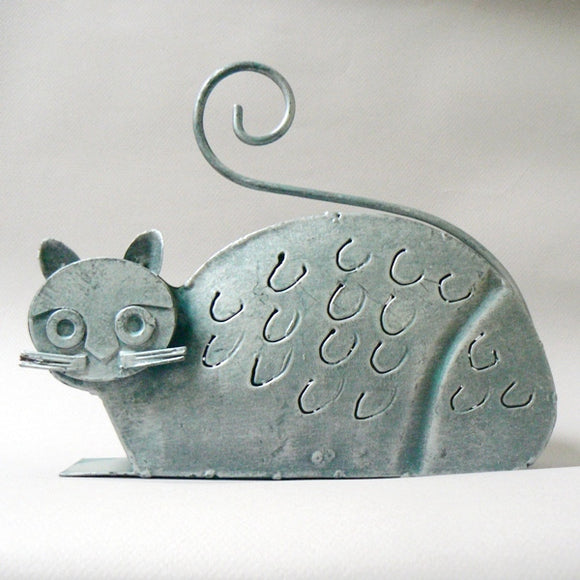 Metal Gray Cat Lantern Candle Holder