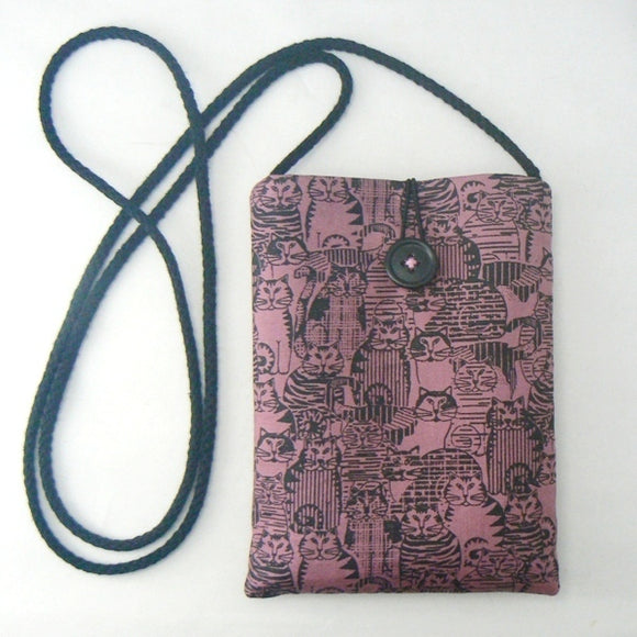 Mini Pouch with Cats on Pink