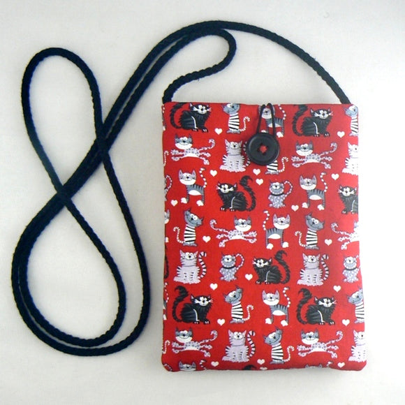 Mini Purse with Little Cats on Red