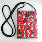 Mini Pouch with Little Cats on Red