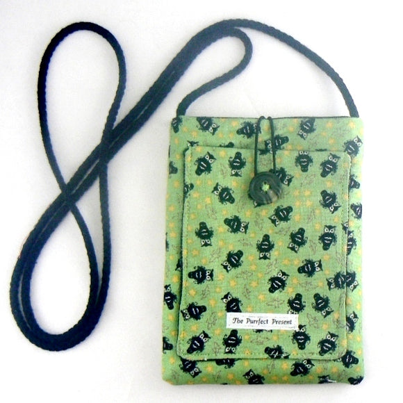 Mini Purse with Owls on Green