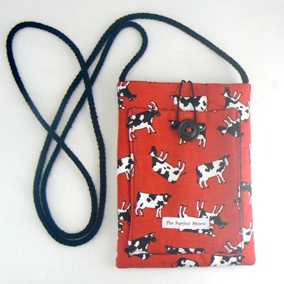 Mini Purse with Tossed Cows on Red