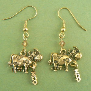 Moo Cow Gold Pewter Earrings
