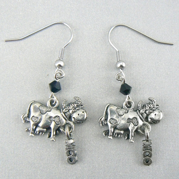 Moo Cow Silver Pewter Earrings