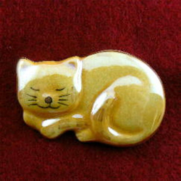 Orange Sleeping Cat Ceramic Pin