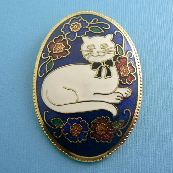 Oval Cloisonne Blue Enamel Cat Pin