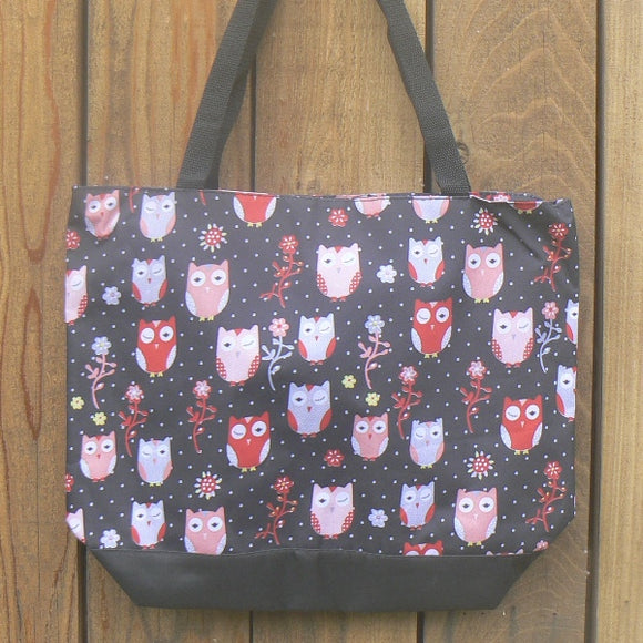 Owl Large Nylon Tote Bag