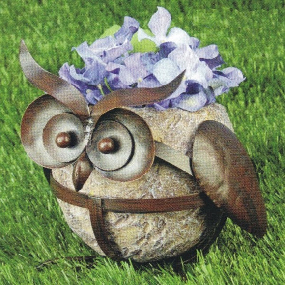 Owl Resin & Metal Flower Pot