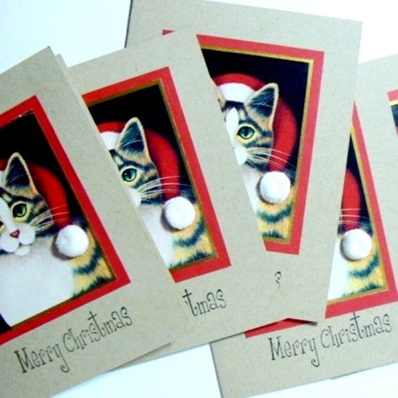 Upcycled Santa Cat Christmas Cards (6)