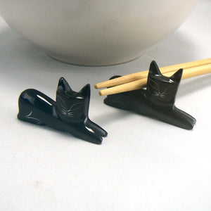 Hand Carved Cat Chopstick Rests
