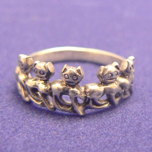 Parade of Cats Sterling Silver Ring