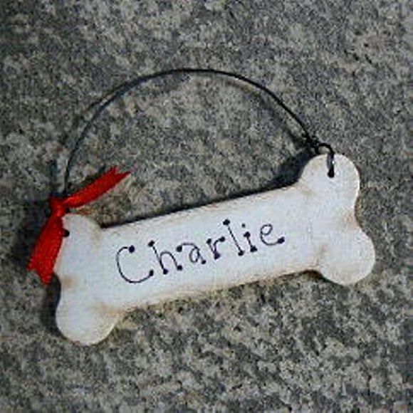 Personalized Dog Bone Wood Ornament