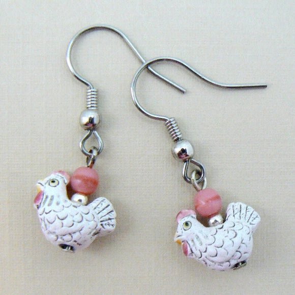Peruvian White Chicken Rooster Earrings