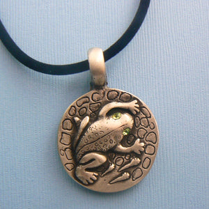Pewter Frog Pendant with Crystal Eyes