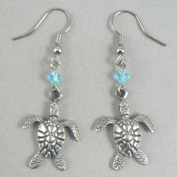 Pewter Sea Turtle Silver Earrings