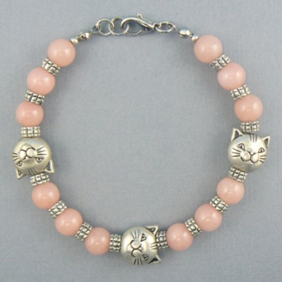 Pink Quartz Cat Head Beaded Bracelet