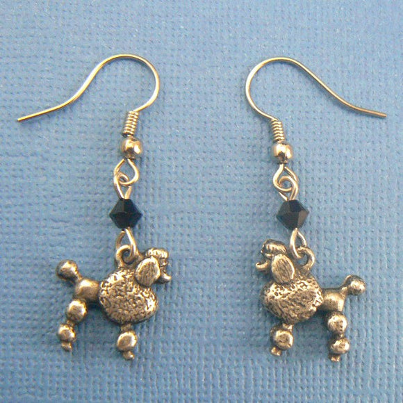 Poodle Dog Pewter Earrings