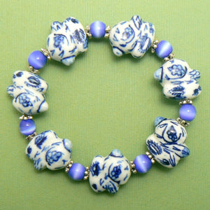 Porcelain Blue & White Rabbit Bracelet