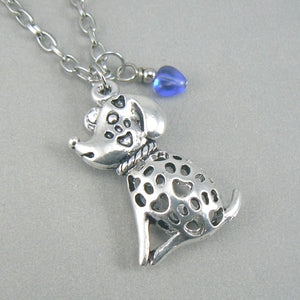 Puppy Love Silver Toned 3D Dog Necklace - Blue Heart