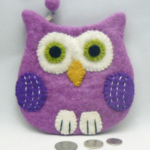 Purple Felt Owl Coin Purse