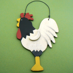 Rooster Hand Painted Wood Ornament