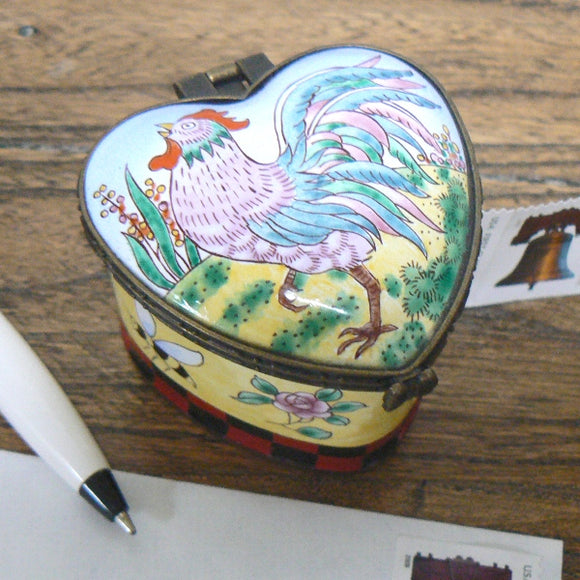 Rooster Heart Shaped Stamp Holder / Dispenser
