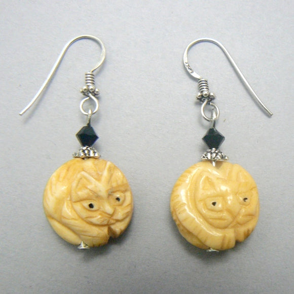 Round Carved Bone Cat Earrings
