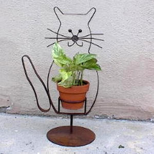 Rusted Metal Cat Plant Holder
