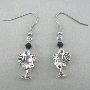 Silver Toned 3D Rooster Earrings