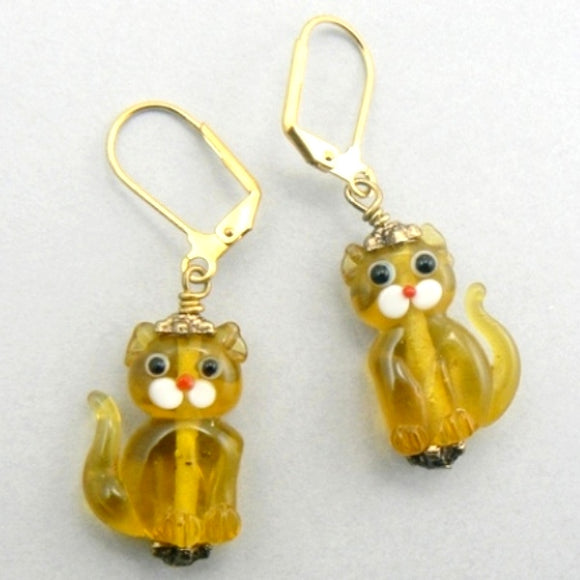Sitting Cats Lampwork Glass Earrings - Topaz