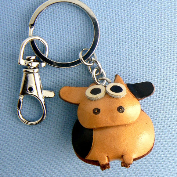 Sitting Cow Leather Key Chain