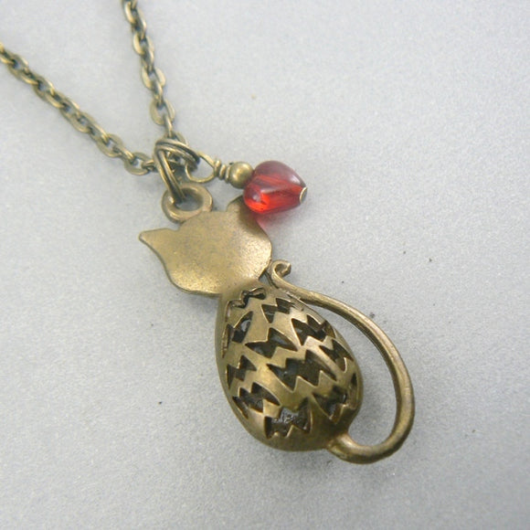 Sitting Hollow Cat Bronze Necklace