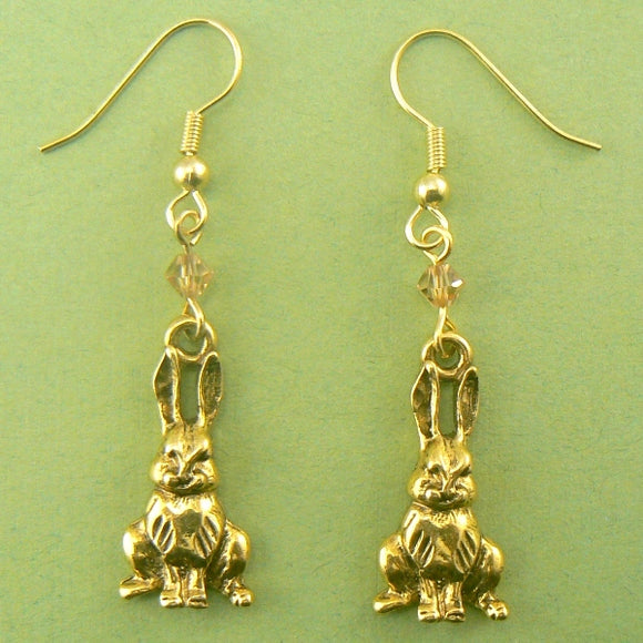 Sitting Rabbits (Gold) Pewter Earrings