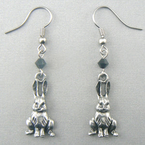 Sitting Rabbits (Silver) Pewter Earrings