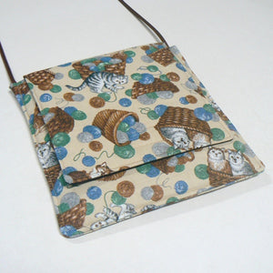Small Square Purse with Cats in Baskets