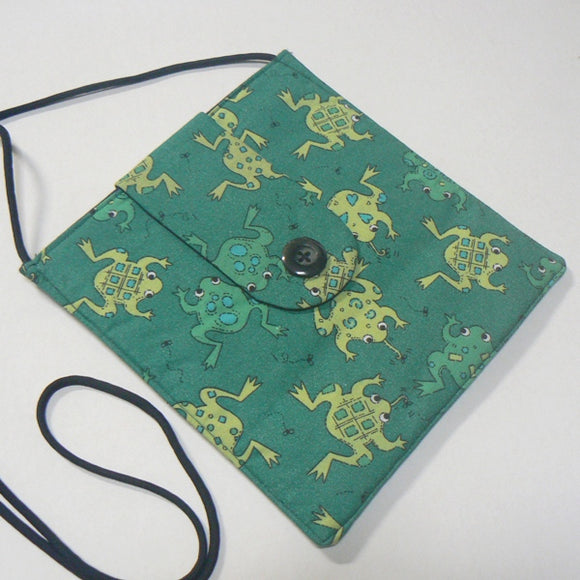 Small Square Purse with Leaping Frogs Print