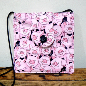 Small Square Purse with Playful Pigs Print