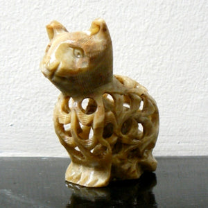 Soapstone Hand Carved Cat Figurine