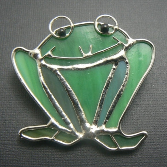 Stained Glass Green Frog Pin