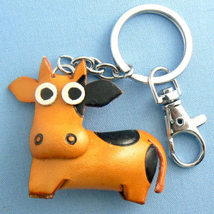 Standing Cow Leather Key Chain