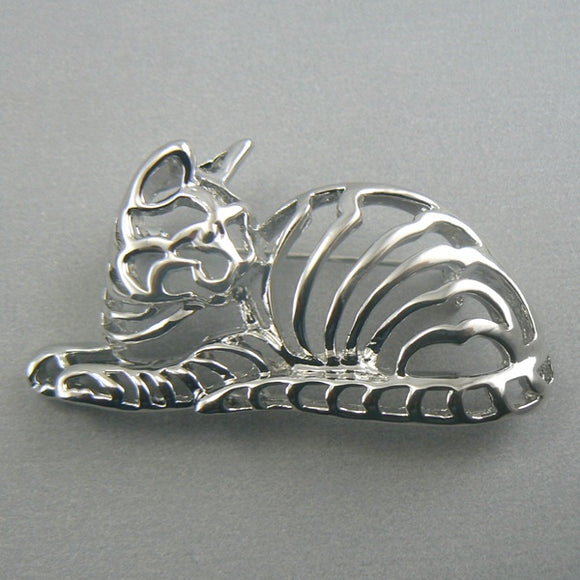 Striped Filigree Cat Silver Pin