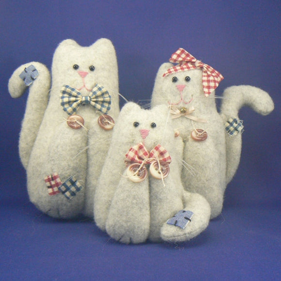 The Feline Family of Felt Cats