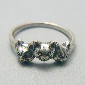 Three Cat Faces Sterling Silver Ring