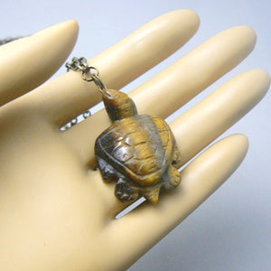 Tigers Eye Carved Turtle Necklace