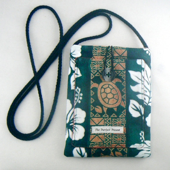 Tiki Turtles on Green Mini Purse