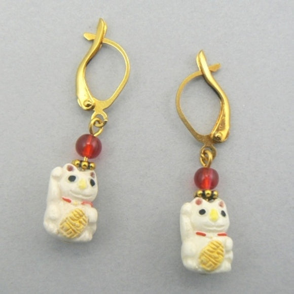 Tiny Good Luck Cat Earrings